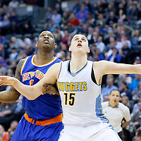 08 March 2016: New York Knicks center Kevin Seraphin (1) vies for the rebound with Denver Nuggets center Nikola Jokic (15) during the Denver Nuggets 110-94 victory over the New York Knicks, at the Pepsi Center, Denver, Colorado, USA.