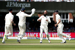 Moeen Ali of England celebrates taking the wicket of Dean Elgar of South Africa, his 100th in Test Matches for England - Mandatory by-line: Robbie Stephenson/JMP - 07/07/2017 - CRICKET - Lords - London, United Kingdom - England v South Africa - Investec Test Series