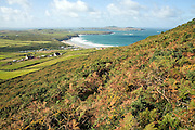Whitesands Bay and Ramsey Island from Carn Llidi, St David's Head, Pembrokeshire, Wales