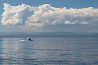 Yacht sailing Haro Strait off coast of San Juan Island Washington