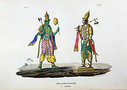 Vishnu, one of the gods of the Hindu trinity (trimurti) in his avatar as Parshu-Rama, Rama with the Axe.  Lithograph from 'L'Inde Francaise', 1828.