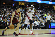 Ben Wallace #4 of Cleveland guards Chris Quinn of Miami..The Miami Heat lost to the host Cleveland Cavaliers 84-76 at Quicken Loans Arena, April 13, 2008...