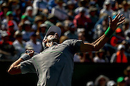 Indian Wells, CA - Novak Djokovic of Serbia in action against Roger Federer of Switzerland during the BNP Paribas Open.