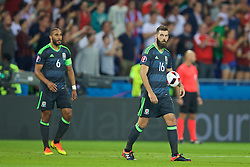 LYON, FRANCE - Wednesday, July 6, 2016: Wales' Joe Ledley looks dejected as Portugal score the opening goal during the UEFA Euro 2016 Championship Semi-Final match at the Stade de Lyon. (Pic by David Rawcliffe/Propaganda)