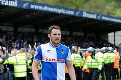 Bristol Rovers' Tom Parkes walks away from the pitch invaders after celebrating with them - Photo mandatory by-line: Dougie Allward/JMP - Mobile: 07966 386802 26/04/2014 - SPORT - FOOTBALL - High Wycombe - Adams Park - Wycombe Wanderers v Bristol Rovers - Sky Bet League Two