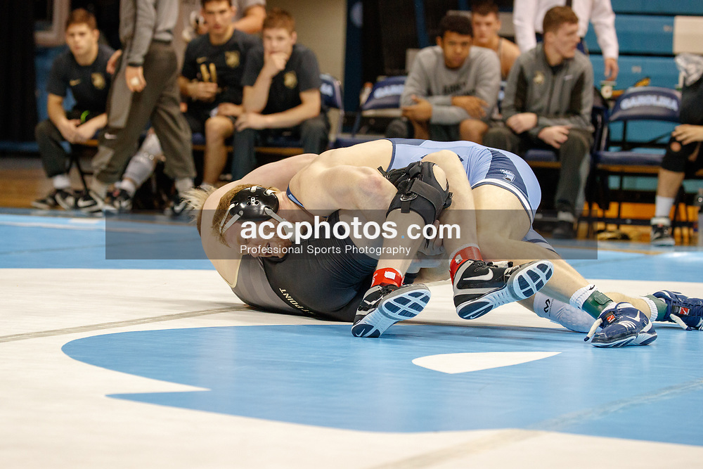 2018 January 05: North Carolina Tar Heels wrestling during a 28-12 win over Army at Carmichael Arena in Chapel Hill, NC.<br /> <br /> 197: Danny Chaid (UNC) maj. dec. Alex Hopkins (Army), 21-8