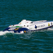 Navy Health, Cruising to the start, Inboard Engine Class, in the Offshore Superboat Championships Coffs Harbour, New South Wales, Australia