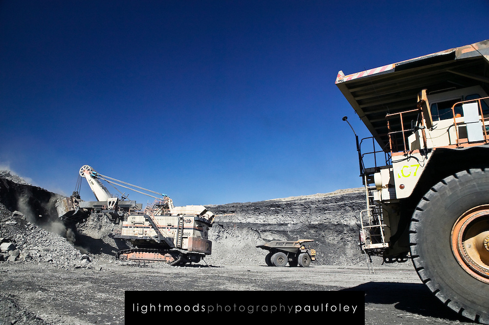 Open Cut Coal Mine, Hunter Valley, NSW Australia. The mines while very important to the Australian economy are also caught up in the climate change debate.