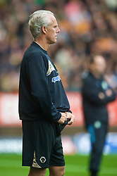 WOLVERHAMPTON, ENGLAND - Saturday, October 24, 2009: Wolverhampton Wanderers' manager Mick McCarthy hids his notebook in his shorts during the Premiership match against Aston Villa at Molineux. (Photo by David Rawcliffe/Propaganda)