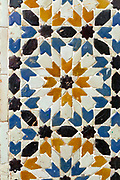 TETOUAN, MOROCCO - 6th April 2016 - Moroccan doorway zelij mosaic tiling, Tetouan Medina, Rif region of Northern Morocco.