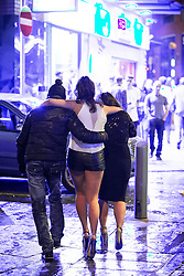 © Licensed to London News Pictures . 01/01/2016 . Manchester , UK . Revellers in Manchester on a New Year night out at the clubs around the city centre's Printworks venue . Photo credit : Joel Goodman/LNP