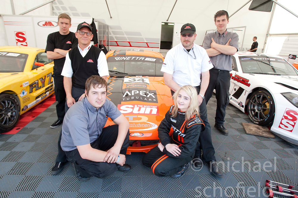 Group pic with Christie's Ginetta car..British Touring Car Championship at Knockhill, Sunday 4th September 2011. .© pic Michael Schofield.