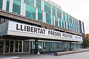 """Town hall - ajuntament - of Sant Cugat, Catalonia. Banner says """"Freedom for Political Prisoners"""" regarding the 7 Catalan ministers and 2 activists jailed by the Spanish government. after declaring the Republic of Catalonia. This banner was torn down and ripped up by pro-Spanish protestors on November 6th 2017."""