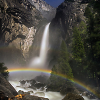 Lunar rainbow on Lower Yosemite Falls, Yosemite National Park, California.