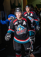 KELOWNA, CANADA - OCTOBER 22: Tyson Baillie #24 of the Kelowna Rockets enters the ice against the Calgary Hitmen on October 22, 2013 at Prospera Place in Kelowna, British Columbia, Canada.   (Photo by Marissa Baecker/Shoot the Breeze)  ***  Local Caption  ***