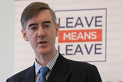 © Licensed to London News Pictures. 27/03/2018. London, UK. Jacob Rees-Mogg speaks at a pro Brexit event organised by the campaign group, Leave Means Leave.. Photo credit: Vickie Flores/LNP