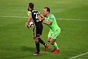 Melbourne goal keeper Eugene Galekovic and Phoenix player Andrew Durante tussle during their Hyundai A League match. Wellington Phoenix v Melbourne City FC. Westpac Stadium, Wellington, New Zealand. Saturday 26 January 2019. ©Copyright Photo: Chris Symes / www.photosport.nz