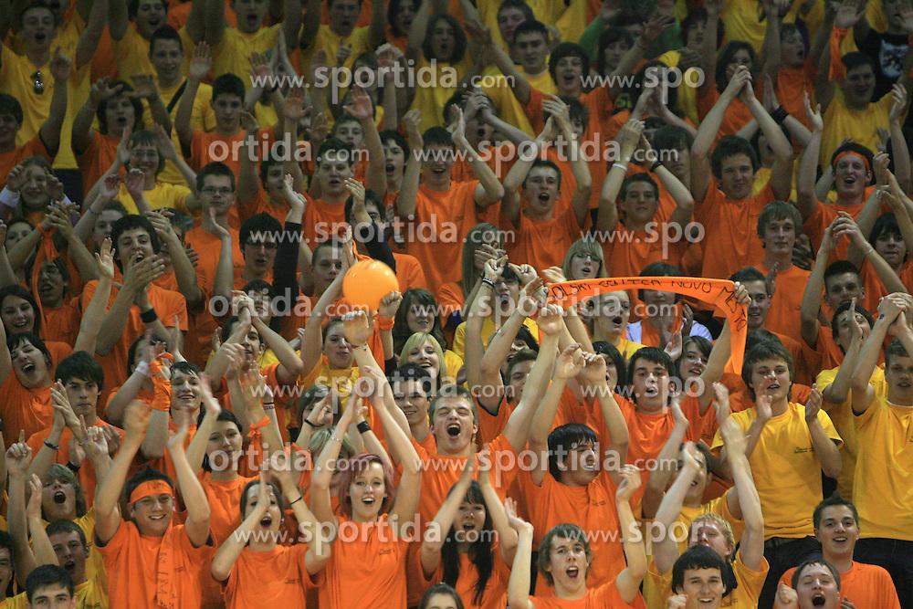 Fans of Novo mesto at SKL finals volleyball match between Solski center Novo mesto and Solski center Slovenj Gradec followed by cup and medal ceremony, on April 22, 2009, in Hall Tivoli, Ljubljana, Slovenia. Win of SC Novo mesto.  (Photo by Vid Ponikvar / Sportida)