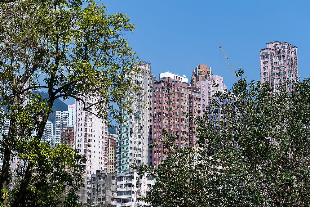 Apartment buildings at Wong Tai Sin district, Kowloon, Hong Kong, China.