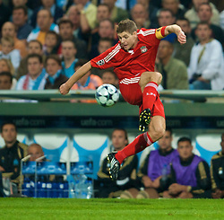 MARSEILLE, FRANCE - Tuesday, September 16, 2008: Liverpool's captain Steven Gerrard MBE in action against Olympique de Marseille during the opening UEFA Champions League Group D match at the Stade Velodrome. (Photo by David Rawcliffe/Propaganda)