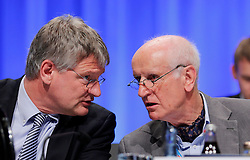 30.04.2016, Messe, Stuttgart, GER, 5. Bundesparteitag der AfD, im Bild Prof. Dr. Jörg Meuthen und Albrecht Glaser // during the 5th party convention of the Alternative for Germany (AfD) at the Messe in Stuttgart, Germany on 2016/04/30. EXPA Pictures © 2016, PhotoCredit: EXPA/ Sammy Minkoff<br /> <br /> *****ATTENTION - OUT of GER*****
