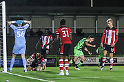 Forest Green Rovers Matty Stevens(9) scores a goal 3-2 and celebrates  during the EFL Trophy match between Forest Green Rovers and U21 Southampton at the New Lawn, Forest Green, United Kingdom on 3 September 2019.