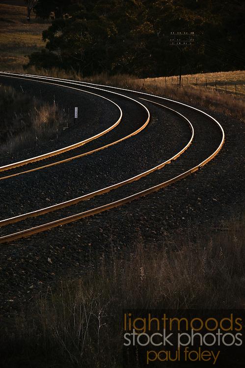 Curve of Railway Tracks, near Bathurst, NSW, Australia