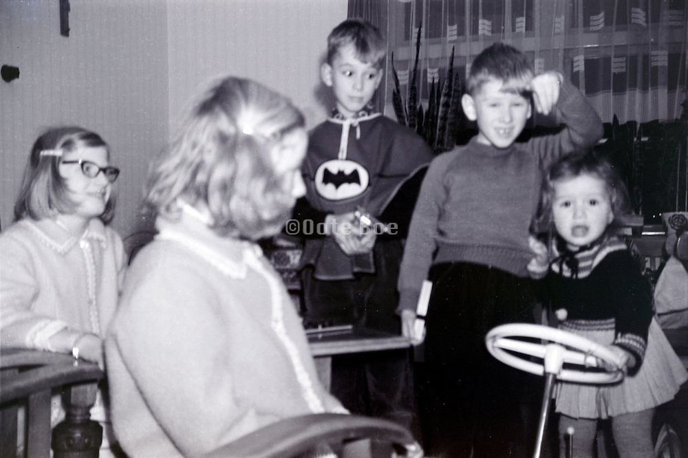 children with there presents on Santa Claus evening 1960s