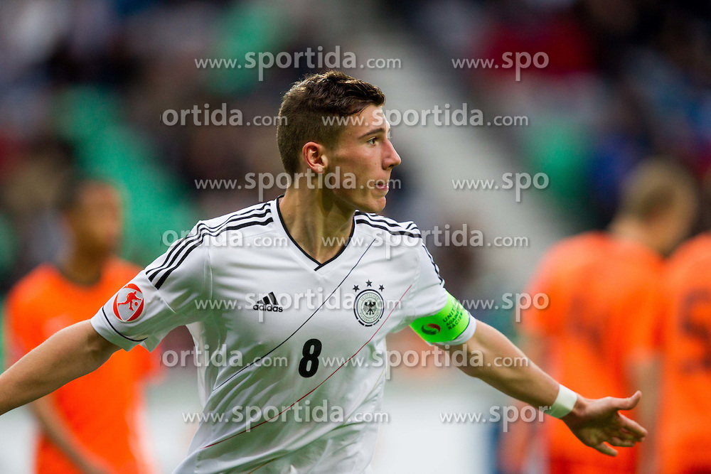 Leon Goretzka of Germany celebrates after he scored during the UEFA European Under-17 Championship Final match between Germany and Netherlands on May 16, 2012 in SRC Stozice, Ljubljana, Slovenia. (Photo by Vid Ponikvar / Sportida.com)