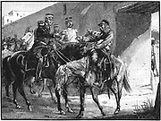 First Anglo-Afghan War 1838-1842): Dr Brydon,  only survivor of the 4,500 British soldiers and 12,000 camp-followers who left Cabul (Kabul) on 6 January 1842 to escape, arriving at Jelalabad with news of the disaster, 13 January . Wood engraving c. 1885