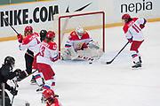 Russia Goalkeeper Merkusheva Valeriya  stops the puck in the third period during the Nagano Olympics Paralympics 20th Anniversary Games at Nagano on Monday, December 25, 2017. 25/12/2017-Nagano, JAPAN.