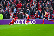 Chris Maguire of Sunderland (7) scores a goal and celebrates to make the score 1-0 during the EFL Sky Bet League 1 first leg Play Off match between Sunderland and Portsmouth at the Stadium Of Light, Sunderland, England on 11 May 2019.