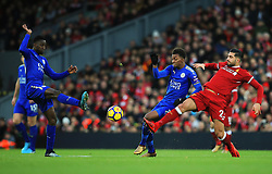 Emre Can of Liverpool challenges Demarai Gray of Leicester City - Mandatory by-line: Matt McNulty/JMP - 30/12/2017 - FOOTBALL - Anfield - Liverpool, England - Liverpool v Leicester City - Premier League