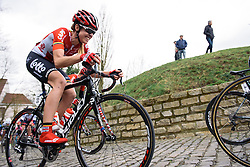 Isabelle Beckers fights up Kapelmuur - Pajot Hills Classic 2016, a 122km road race starting and finishing in Gooik, on March 30th, 2016 in Vlaams Brabant, Belgium.