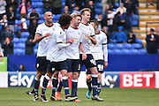Bolton Wanderers Midfielder, Josh Vela celebrates his goal during the Sky Bet Championship match between Bolton Wanderers and Middlesbrough at the Macron Stadium, Bolton, England on 16 April 2016. Photo by Mark Pollitt.