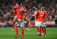 20120114: LISBON, PORTUGAL – Liga Zon Sagres 2011/2012: SL Benfica vs V. Setubal. In picture: Rodrigo and Cardozo (Benfica).<br />PHOTO: Alvaro Isidoro/CITYFILES