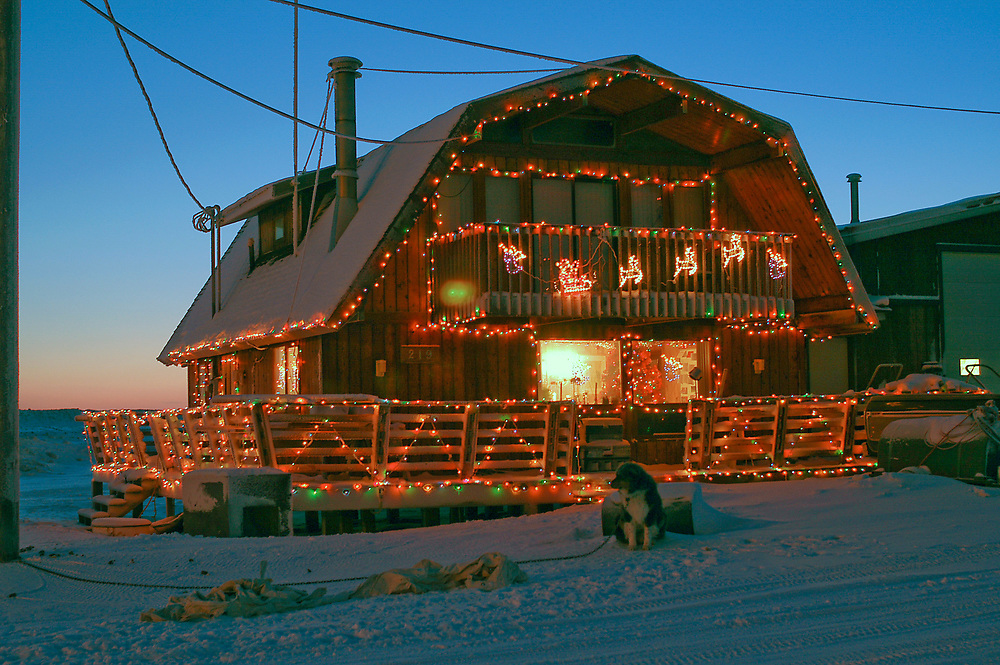 Alaska, Barrow. Margareth Opie's house with Christmas decorations. December 2003