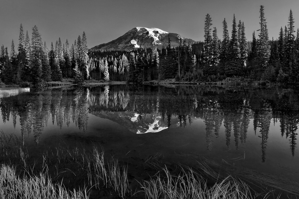 6:38 AM Reflection Lake monochrome