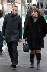 61009841<br /> Russian education and science minister Dmitry Livanov (L) and Anna Usachyova, head of the information and regional policy at Russia s education and science ministry, arrive at a school in northeast Moscow, where a high-school student took fellow pupils hostage and shot a teacher and a police officer dead. The teenager has been detained, Moscow, Russia, Monday, 3rd February 2014. Picture by  imago / i-Images<br /> UK ONLY