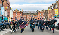 Pictured: Yeomanry receive Freedom of East Lothian, Dunbar, East Lothian, Scotland, United Kingdom, 06 July 2019. The historic Lothians and Border regiment is granted Freedom of East Lothian by Councillor Jim Goodfellow, East Lothian Council's Armed Forces Champion, which is accepted by Major S J Vine. The Yeomanry's links with the county date back to 1797.<br /> The regiment parades through Dunbar High Street with a pipe band made up from East Lothian pipe bands, including Haddington and North Berwick bands, & Loretto cadets.<br /> <br /> Sally Anderson | EdinburghElitemedia.co.uk
