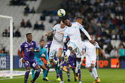 Lucas Ocampos and Franck Zambo Anguissa during the French Championship Ligue 1 football match between Olympique de Marseille and Toulouse FC on September 24, 2017 at Orange Velodrome stadium in Marseille, France - Photo Philippe Laurenson / ProSportsImages / DPPI