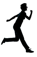 one caucasian young teenager silhouette boy or girl happy running full length in studio cut out isolated on white background
