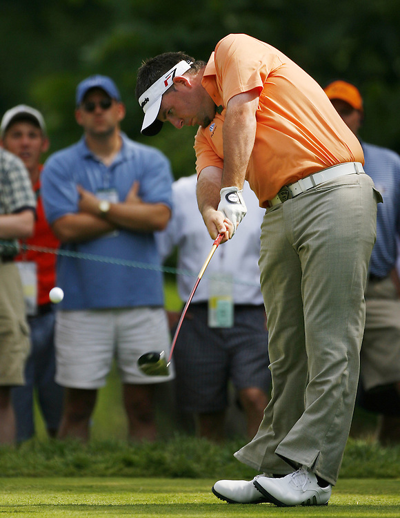 Kenneth Ferrie of England tees off on the fourteenth hole during the second day of the US Open Golf Championship at Winged Foot Golf Club in Mamaroneck, New York Friday, 16 June 2006.