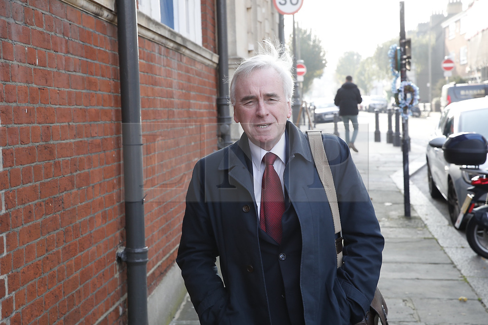 © Licensed to London News Pictures. 31/10/2019. London, UK. Labour Party Deputy Leader John McDonnell  arrives at Battersea Arts Centre. Labour are launching their election manifesto today. Photo credit: Peter Macdiarmid/LNP