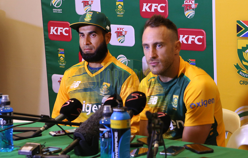 Imran Tahir and Faf du Plessis during the First KFC T20 Match between South Africa and England played at Newlands Stadium, Cape Town, South Africa on February 19th 2016