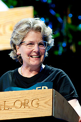 © London News Pictures. 25/05/2015. Hay-on-Wye, Powys, Wales, UK. Sandi Toksvig , comedian, broadcaster and writer, celebrates reading and books at the Hay Festival 2015. Photo credit : Graham M. Lawrence/LNP.