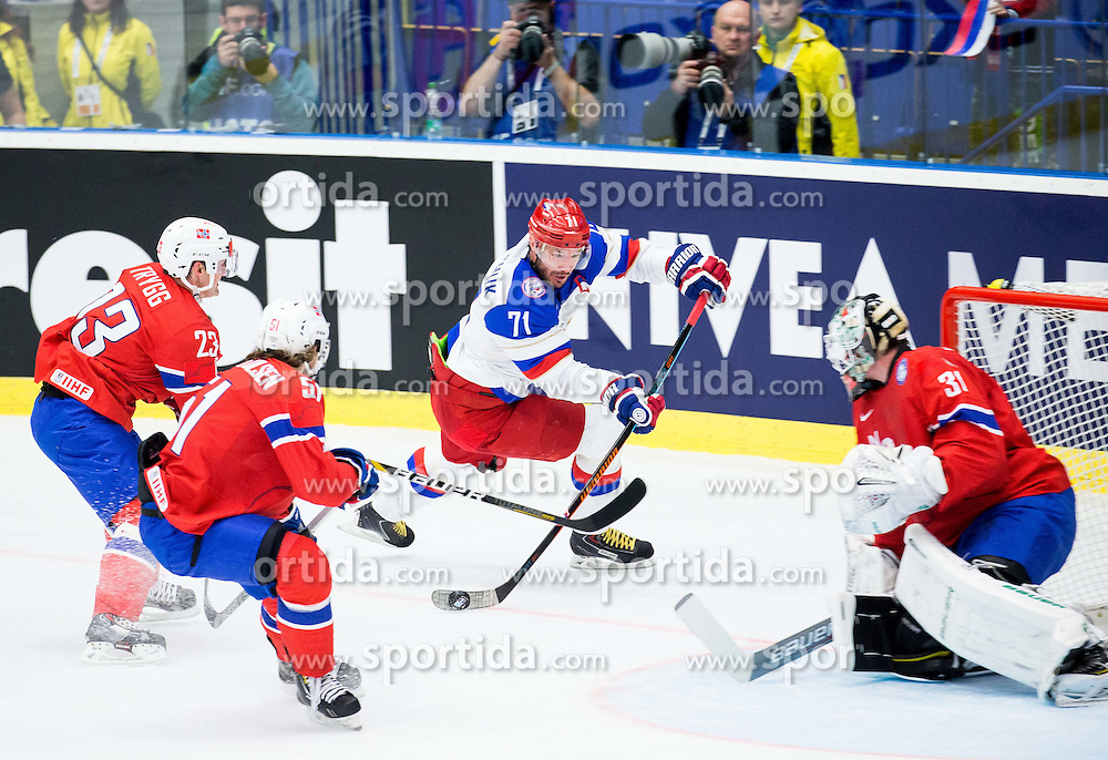Ilya Kovalchuk of Russia vs Lars Volden of Norway during Ice Hockey match between Russia and Norway at Day 1 in Group B of 2015 IIHF World Championship, on May 1, 2015 in CEZ Arena, Ostrava, Czech Republic. Photo by Vid Ponikvar / Sportida