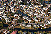 Aerial view of homes in Seaside housing development in Mt Pleasant, SC.
