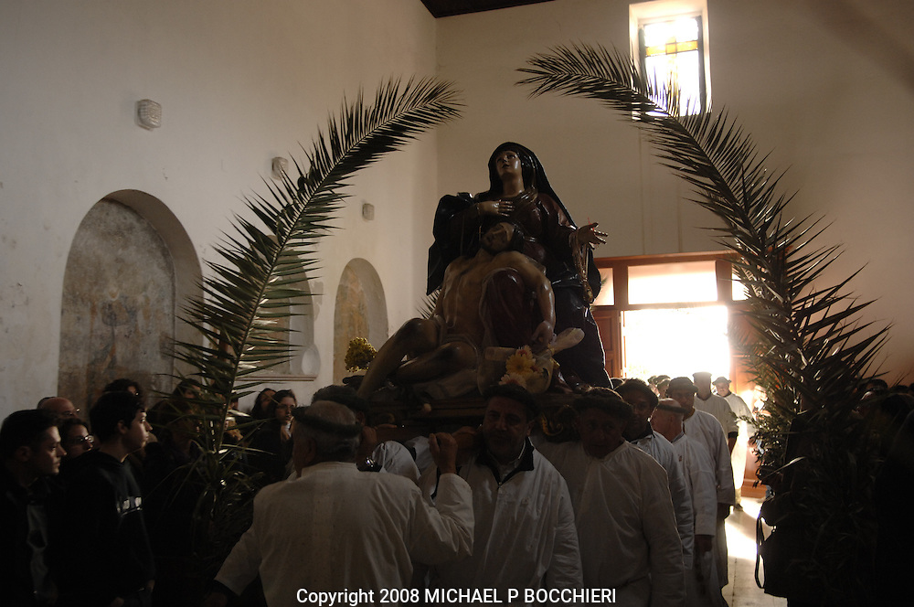 Nocera Tirinese, Calabria - MARCH 22: General views of the town days before the Rito Dei Vattienti (rite of the beaters) March 22, 2008 in Nocera Tirinese, Calabria, Italy. A yearly Easter ritual dating back to the mid-13th century the Processione della Addolorata (procession of the Golden Madonna) and Rito dei Vattienti (rite of the beaters) includes devote Catholics that flagellant themselves in the streets and jog the route of the Easter procession, enduring the pain and suffering of religious sacrifice in the name of spiritual cleansing. (Photo by Michael Bocchieri/Bocchieri Archive)
