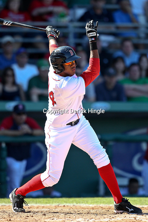 March 12, 2011; Fort Myers, FL, USA; Boston Red Sox third baseman Oscar Tejeda (84) during a spring training exhibition game against the Florida Marlins at City of Palms Park. The Red Sox defeated the Marlins 9-2.  Mandatory Credit: Derick E. Hingle